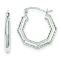 Fancy Hoop Earrings in 14k White Gold