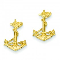D Anchor With Rope Post Earrings in 14k Yellow Gold