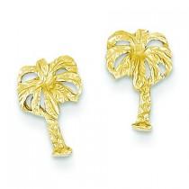 Palm Tree Post Earrings in 14k Yellow Gold