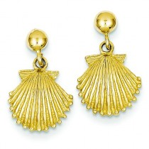 Scallop Shell Dangle Post Earrings in 14k Yellow Gold