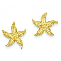 Starfish Post Earrings in 14k Yellow Gold