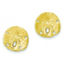 Large Sand dollar Post Earrings in 14k Yellow Gold