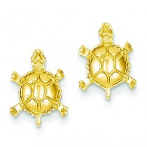 Turtle Post Earrings in 14k Yellow Gold