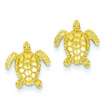 Sea Turtle Post Earrings in 14k Yellow Gold