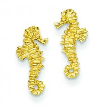 Mini Seahorse Post Earrings in 14k Yellow Gold