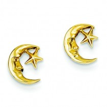 Moon And Star Post Earrings in 14k Yellow Gold