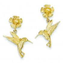 Hummingbird Dangle From Flower in 14k Yellow Gold
