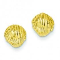Diamond Cut Shell Earrings in 14k Yellow Gold