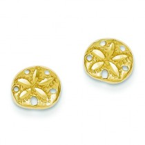Diamond Cut Sand Dollar Earrings in 14k Yellow Gold