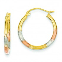 Tricolor Diamond Cut Earrings in 14k Tri-color Gold