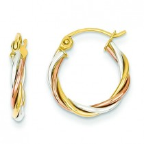 Tricolor Twisted Hoop Earrings in 14k Tri-color Gold