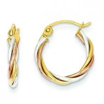 Tricolor Twisted Hoop Earrings in 14k Tri-color Gold