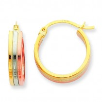 Tricolor Hoop Earrings in 14k Tri-color Gold