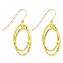 Double Circle Dangle Wire Earrings in 14k Yellow Gold