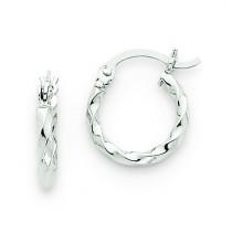Twist Hoop Earrings in 14k White Gold