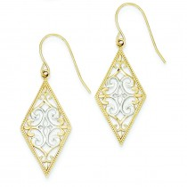 Diamond Shape Filigree Wire Dangle Earrings in 14k Two-tone Gold