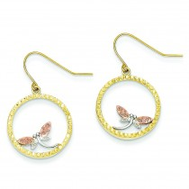 Tri Color Diamond Cut Dragonfly In Circle Wire Dangle Earrings in 14k Tri-color Gold