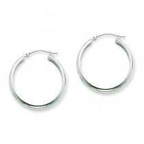 Round Tube Hoop Earrings in 14k White Gold