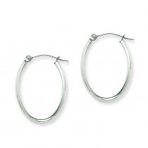 Oval Tube Hoop Earrings in 14k White Gold