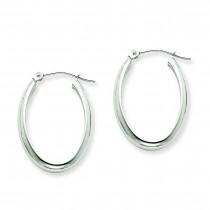 Oval Tube Hoop Earrings in 14k White Gold