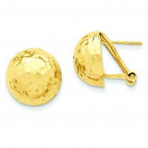 Hammered Omega Back Post Earrings in 14k Yellow Gold