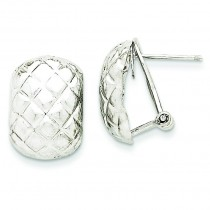 Quilted Omega Back Post Earrings in 14k White Gold