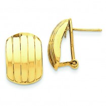 Ribbed Omega Back Post Earrings in 14k Yellow Gold