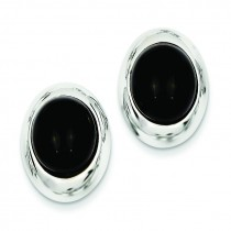 Onyx Omega Back Post Earrings in 14k White Gold