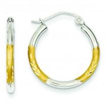 Satin Diamond Cut Hoop Earrings in 14k Yellow Gold