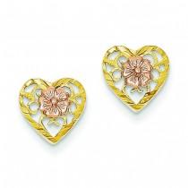 Heart Flower Center Post Earrings in 14k Two-tone Gold