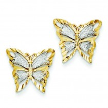 Diamond Cut Butterfly Post Earrings in 14k Two-tone Gold