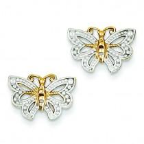 Butterfly Post Earrings in 14k Two-tone Gold