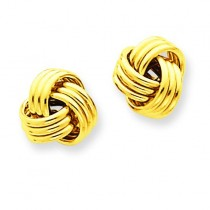Ridged Love Knot Post Earrings in 14k Yellow Gold