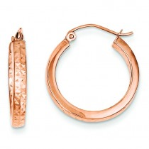 Rose Diamond Cut In And Out Hoop Earrings in 14k Rose Gold