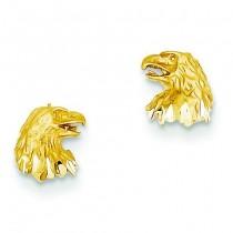 Diamond Cut Eagle Earrings in 14k Yellow Gold