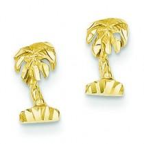 Diamond Cut Palm Tree Earrings in 14k Yellow Gold