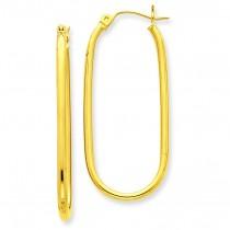 Oval Tube Hoop Earrings in 14k Yellow Gold