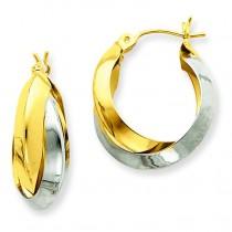 Knife-edge Double Hoop Earrings in 14k Two-tone Gold
