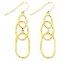 Tier Oval Dangle Wire Earrings in 14k Yellow Gold