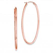 Rose Square Tube Oval Hoop Earrings in 14k Rose Gold