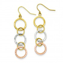 Tri Color Diamond Cut Circle Dangle Earrings in 14k Tri-color Gold
