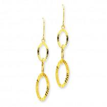 Diamond Cut Oval Earrings in 14k Yellow Gold