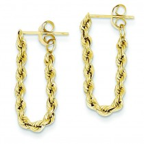 Hollow Rope Earrings in 14k Yellow Gold