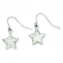 Diamond Cut Star Dangle Earrings in 14k White Gold