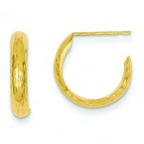 Diamond Cut J-Hoop Earrings in 14k Yellow Gold