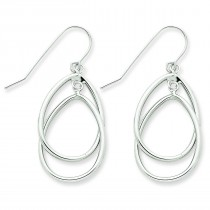 Double Circle Dangle Wire Earrings in 14k White Gold