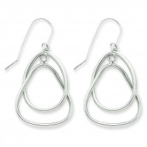 Circle Triangle Dangle Wire Earrings in 14k White Gold