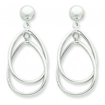 Oval Dangle Post Earrings in 14k White Gold