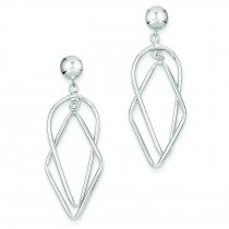 Fancy Dangle Post Earrings in 14k White Gold