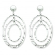 Oval Circle Dangle Post Earrings in 14k White Gold